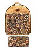 J.S ONDO Mochila Mujer de Corcho. 2 Pcs Bolso mochila de corcho artesanal + Billetero monedero con estampado. Bolso mochila Ecológico. Fabricado con corcho Portugués. (Estampado 2)