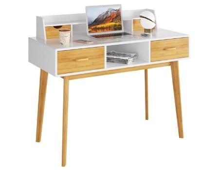 mesa escritorio ecologico madera blanco