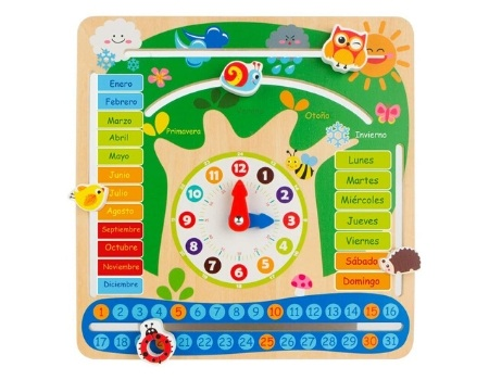 juguete reloj ecologico madera